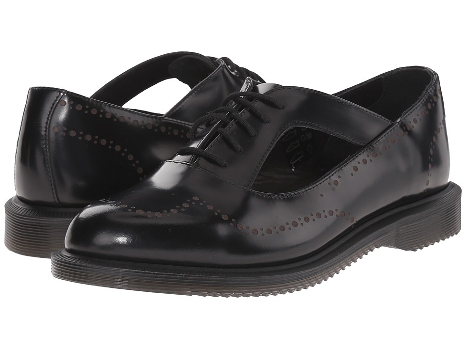 Dr. Martens - Ruby Open Etched Brogue Shoe (Black Polished Smooth) Women's Maryjane Shoes