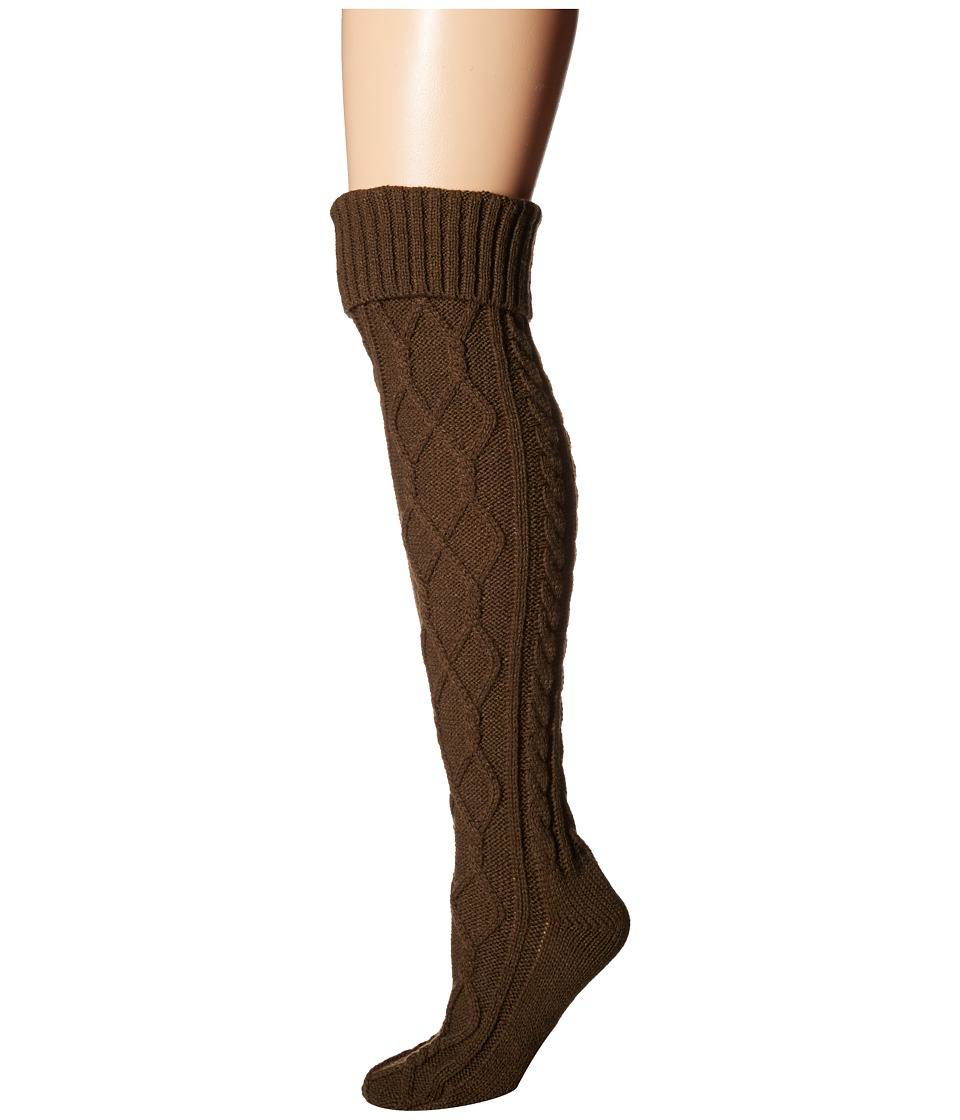 Free People - Cozy Cable OTK Sock (Olive) Women's No Show Socks Shoes