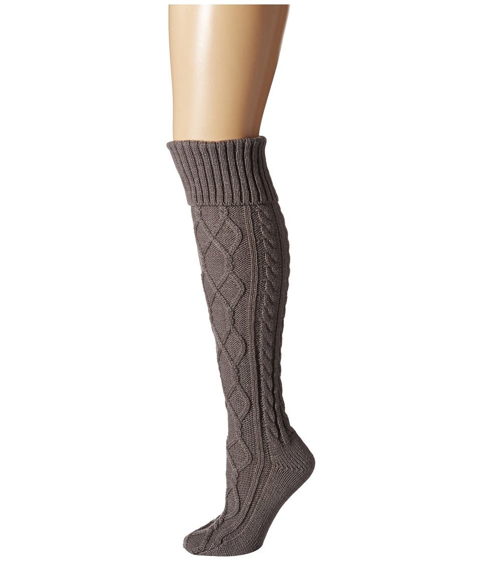 Free People - Cozy Cable OTK Sock (Charcoal) Women's No Show Socks Shoes