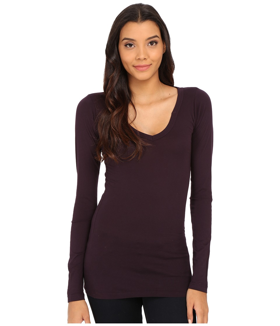 LAmade - Fitted V-Neck Tee (Deep Purple) Women's Long Sleeve Pullover