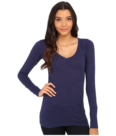 LAmade - Fitted V-Neck Tee (Midnight) Women's Long Sleeve Pullover