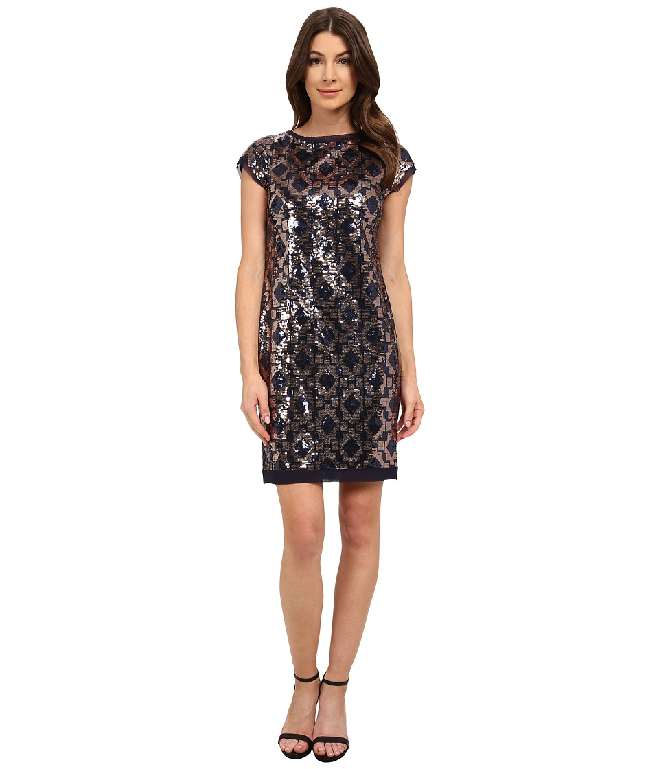 Vince Camuto Geo Pattern Sequin Cap Sleeve Sheath Dress (Navy) Women