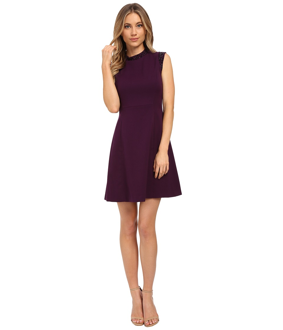 Vince Camuto - Cap Sleeve Solid Fit Flare Dress with Black Jet Bead Trim (Purple) Women's Dress