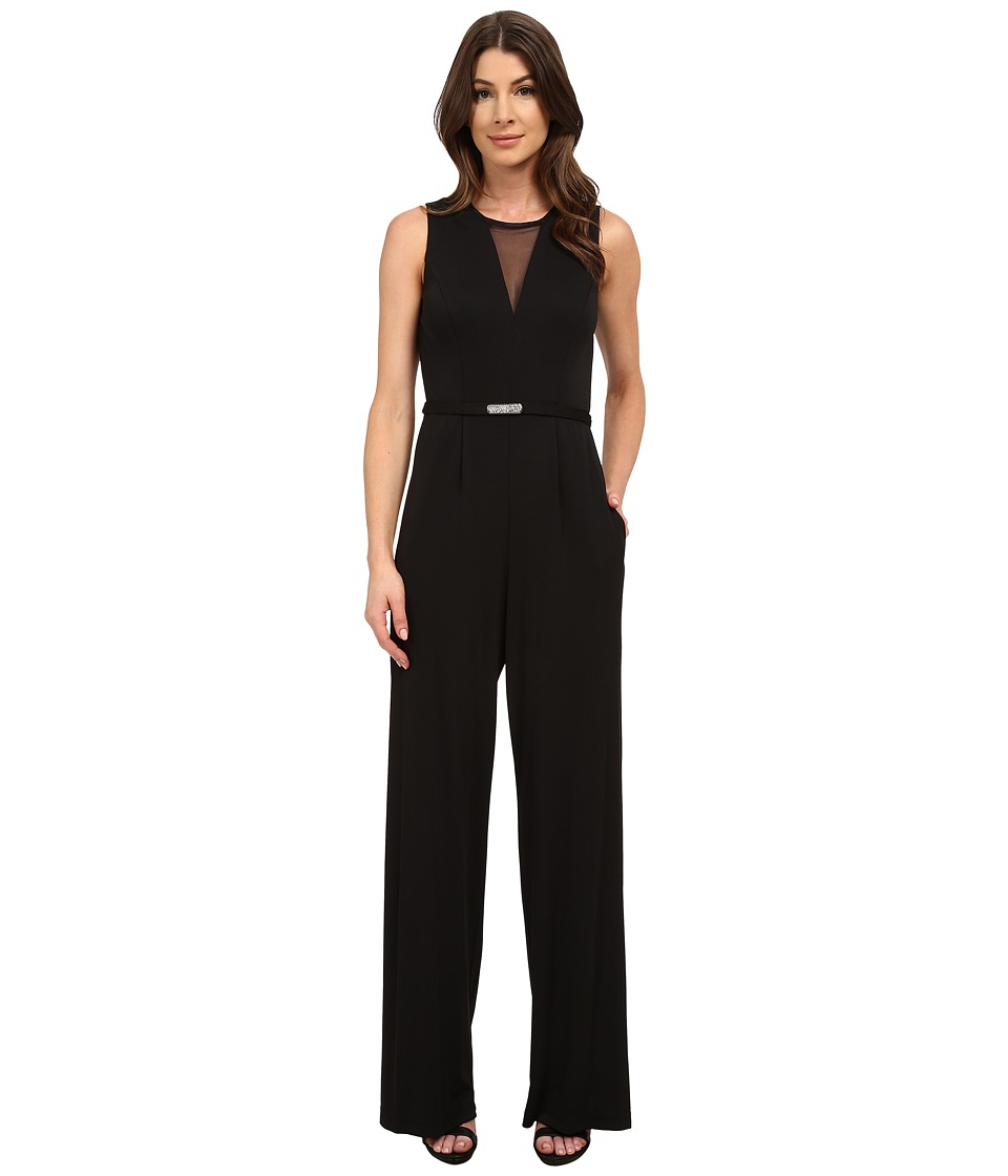 Vince Camuto - Illusion V-Neck Sleeveless Jumpsuit (Black) Women's Jumpsuit & Rompers One Piece
