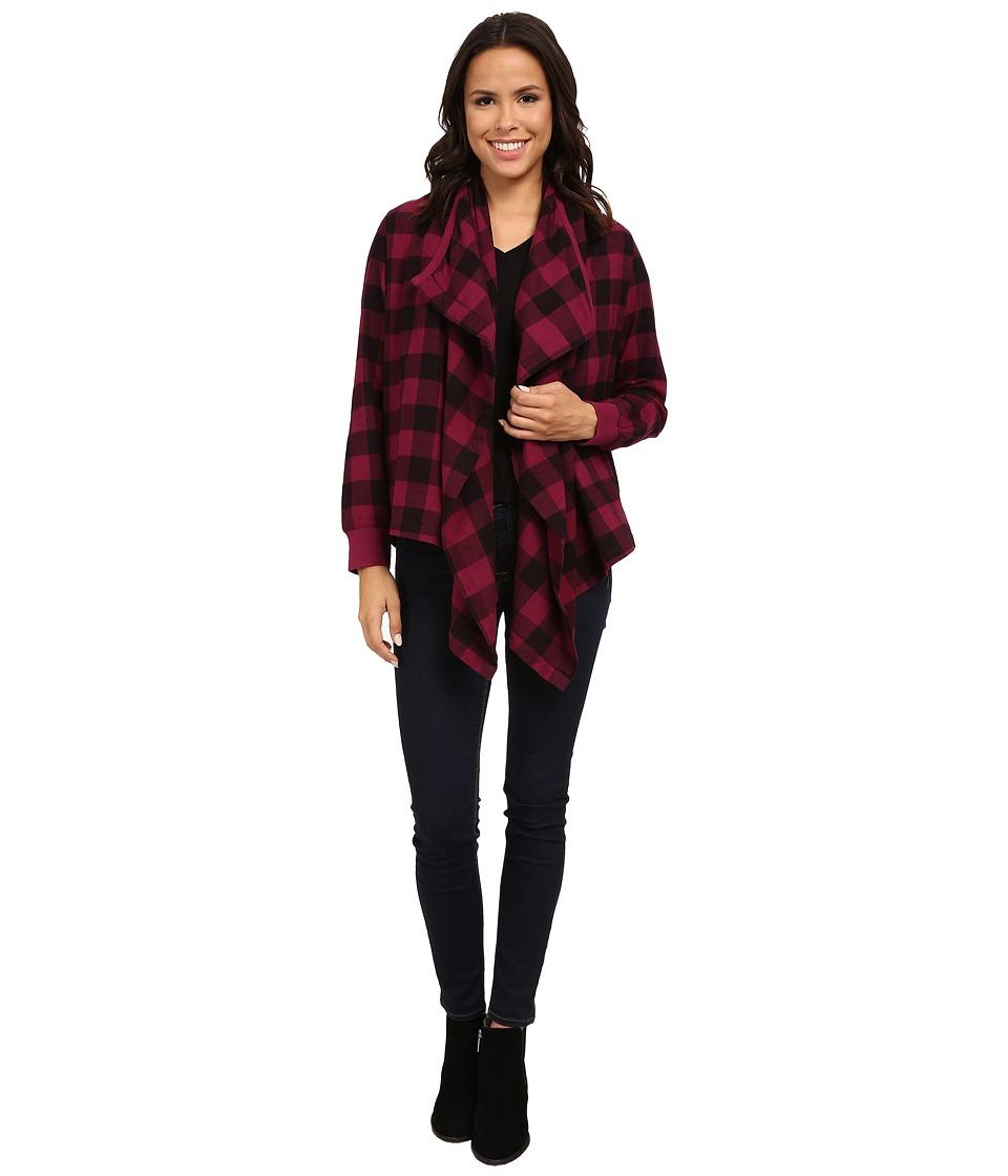 Alternative - Yarn Dye Flannel Bungalow Wrap (Raspberry) Women's Sweater