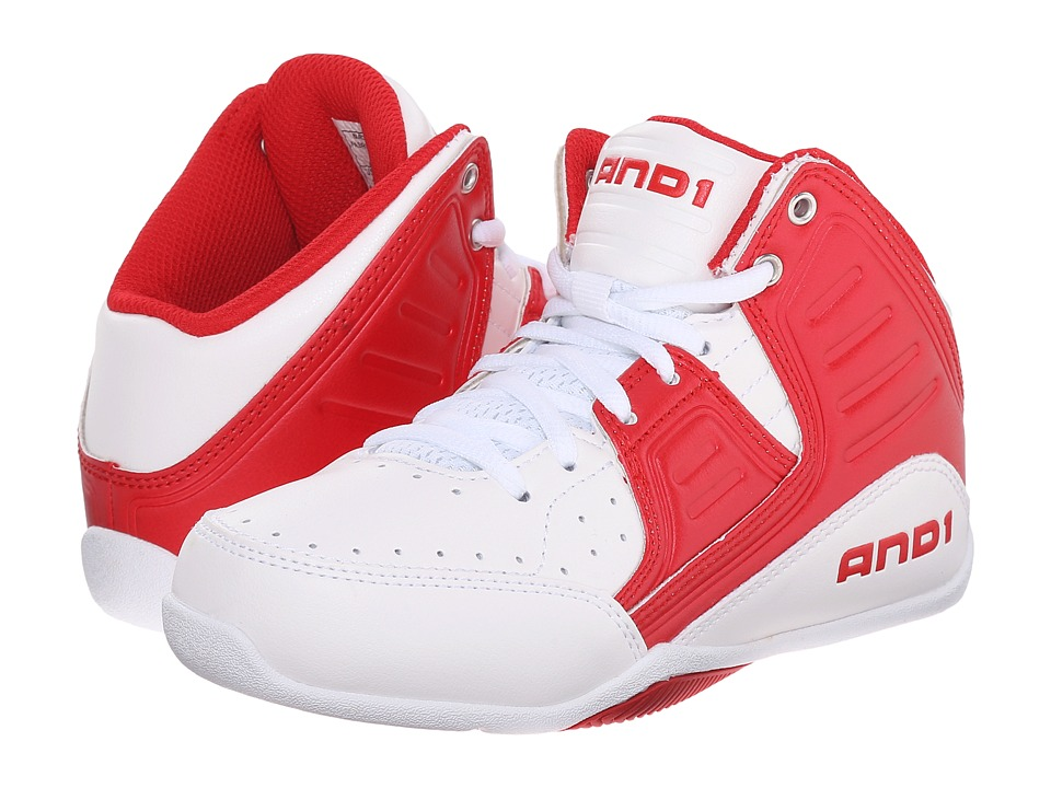 AND1 Kids - Rocket 4 (Little Kid/Big Kid) (Bright White/Red/Bright White) Boys Shoes