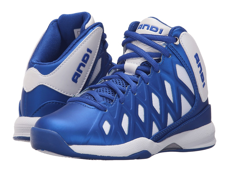 AND1 Kids - Unbreakable (Little Kid/Big Kid) (Bright White/Royal/Bright White) Boys Shoes