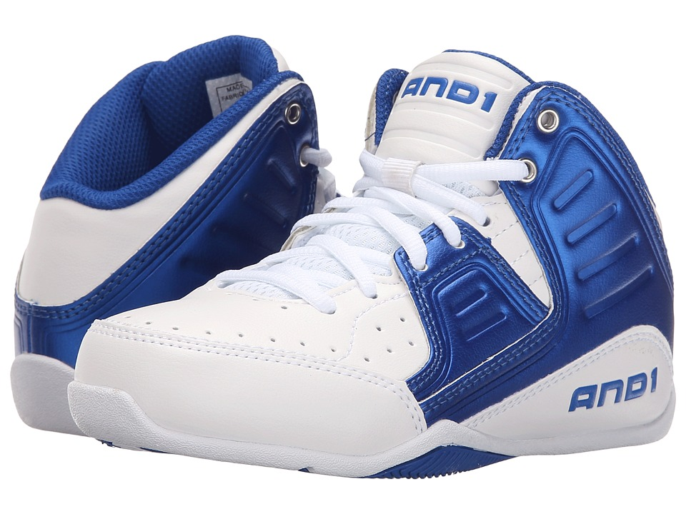AND1 Kids - Rocket 4 (Little Kid/Big Kid) (Bright White/Royal/Bright White) Boys Shoes