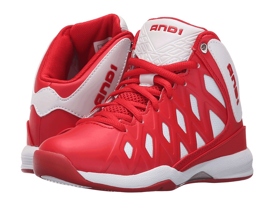 AND1 Kids - Unbreakable (Little Kid/Big Kid) (Bright White/Red/Bright White) Boys Shoes