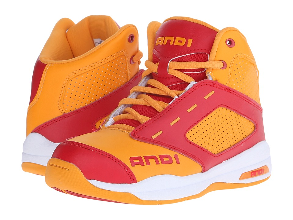 AND1 Kids - Typhoon (Little Kid/Big Kid) (Saffron/Red/Bright White) Boys Shoes