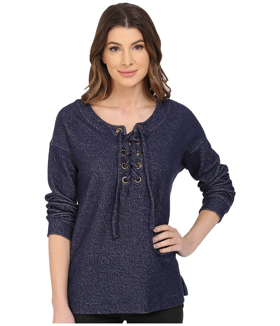 Sanctuary - Lace Up Day Beacon Top (Marine) Women's Long Sleeve Pullover