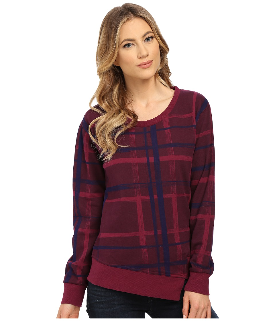 Alternative - Eco Micro Fleece Voyager Crew Neck (Raspberry Brush Plaid) Women's Fleece