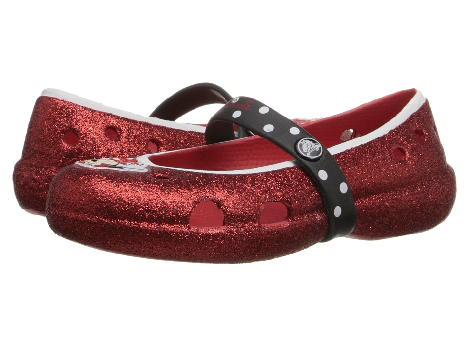 Crocs Kids - Kelley Minnie Glitter Flat PS (Toddler/Little Kid) (Red) Girls Shoes