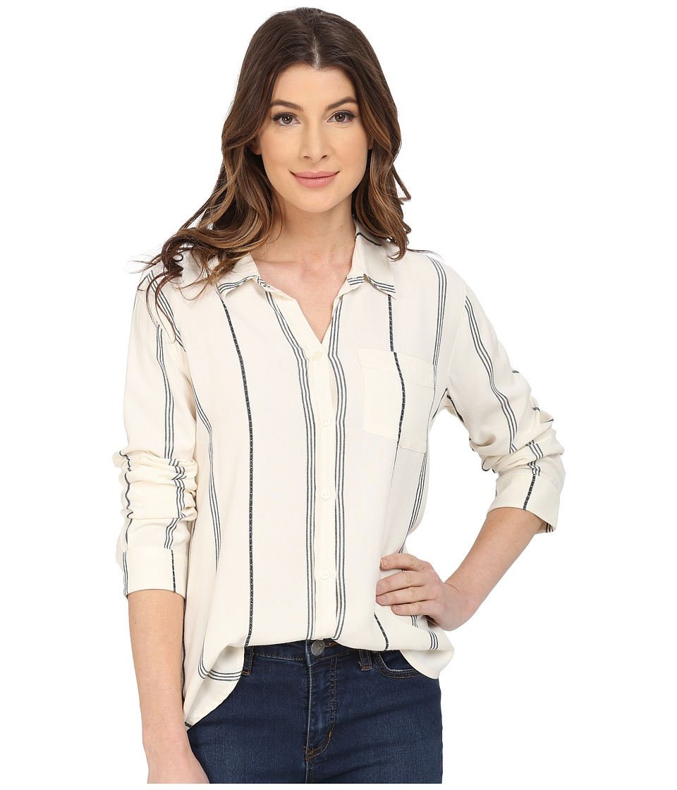 Sanctuary - Tailored Boyfriend Shirt w/ Single Pocket (Milk Ticking Stripe) Women's Blouse