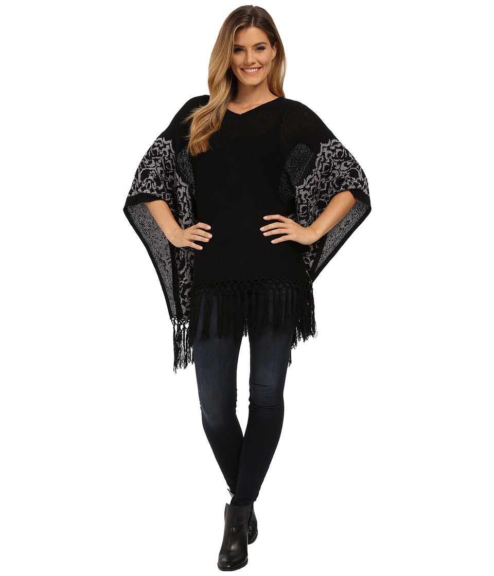 Miraclebody Jeans - Felicity Fringed Sweater Top w/ Body-Shaping Inner Shell (Black) Women's Sweater