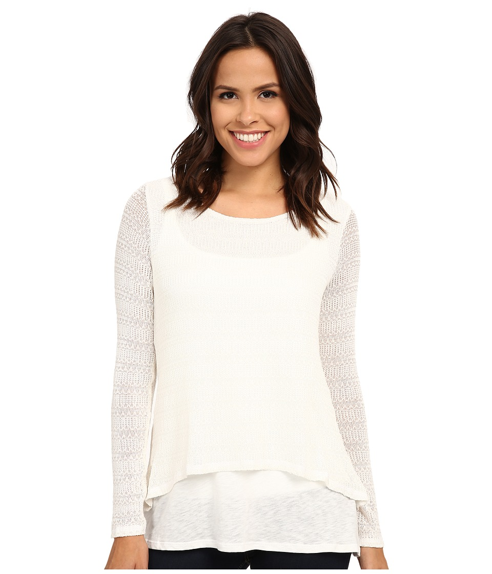 Miraclebody Jeans - Casey Crop Jacquard Sweater w/ Body-Shaping Inner Shell (Ivory White) Women