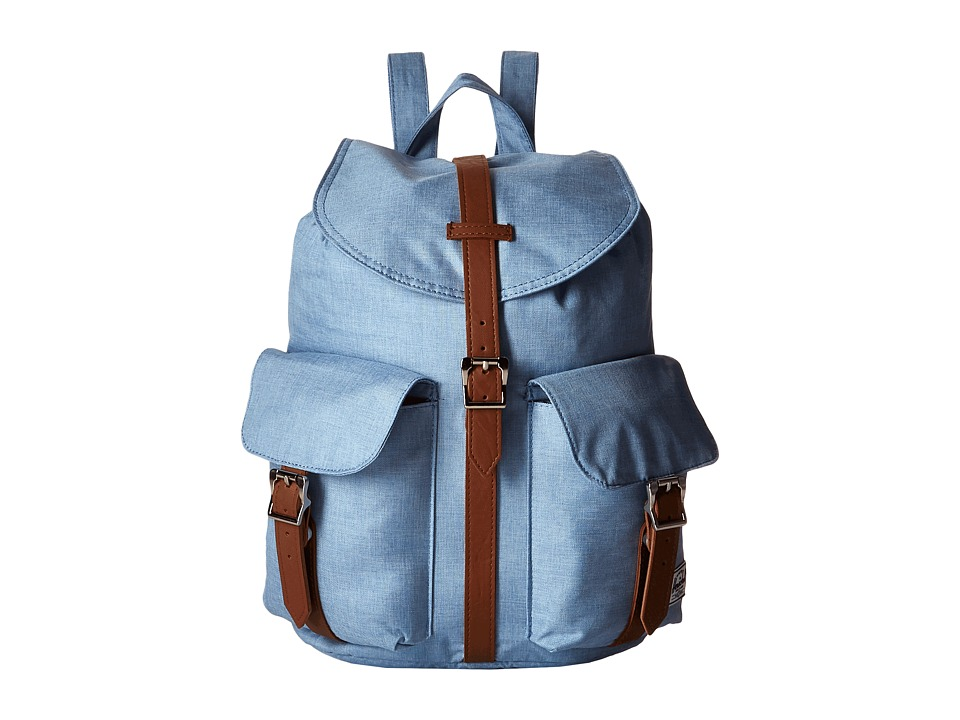 Herschel Supply Co. - Dawson (Chambray Crosshatch/Tan Synthetic Leather) Backpack Bags