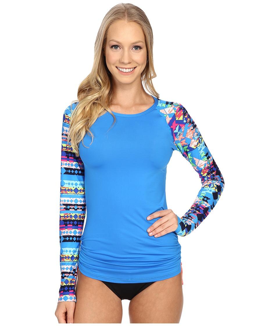 TYR - Boca Chica Long Sleeve Swim Shirt (Blue) Women's Swimwear