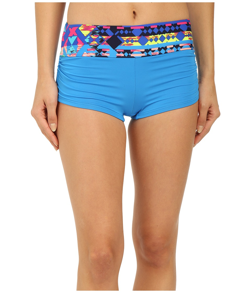 TYR - Boca Chica Active Mini Boyshorts (Blue) Women's Swimwear