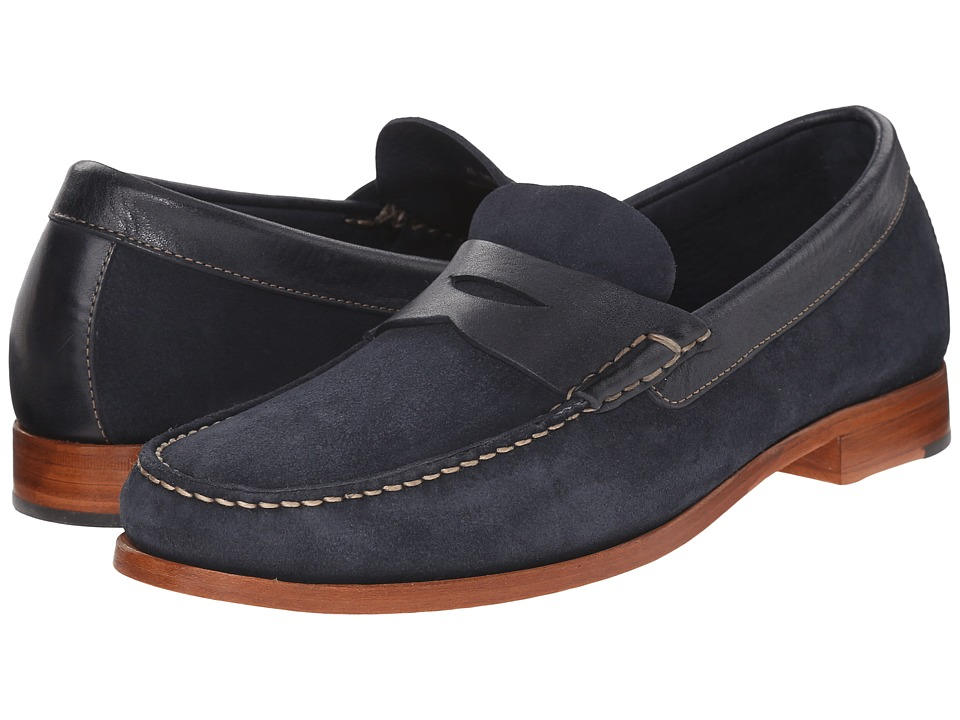 Johnston & Murphy - Danbury Penny (Navy Water-Resistant Full Grain Suede) Men's Slip-on Dress Shoes