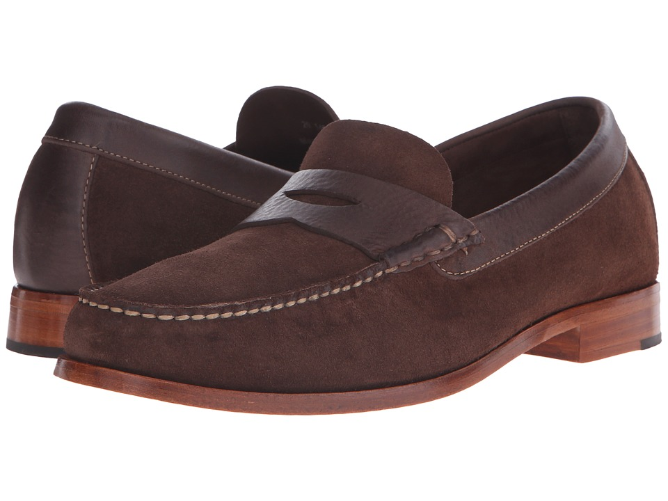 Johnston & Murphy - Danbury Penny (Brown Water-Resistant Full Grain Suede) Men's Slip-on Dress Shoes