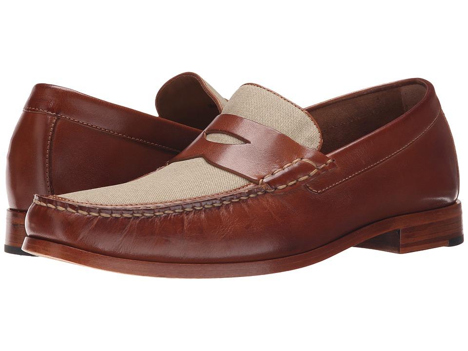 Johnston & Murphy - Danbury Linen Penny (Tan Calfskin/Dark Natural Linen) Men's Slip on Shoes