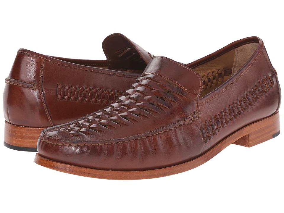 Johnston & Murphy - Danbury Woven Venetian (Brown Calfskin) Men's Slip-on Dress Shoes