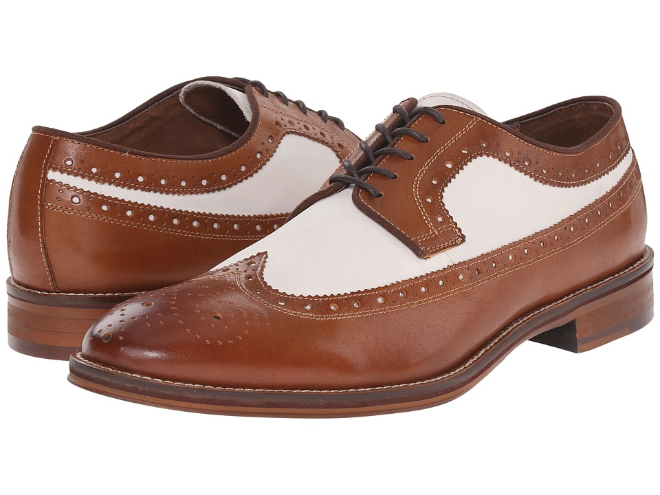 Johnston & Murphy - Conard Wingtip (Tan Italian Calfskin/White Nubuck) Men's Lace Up Wing Tip Shoes