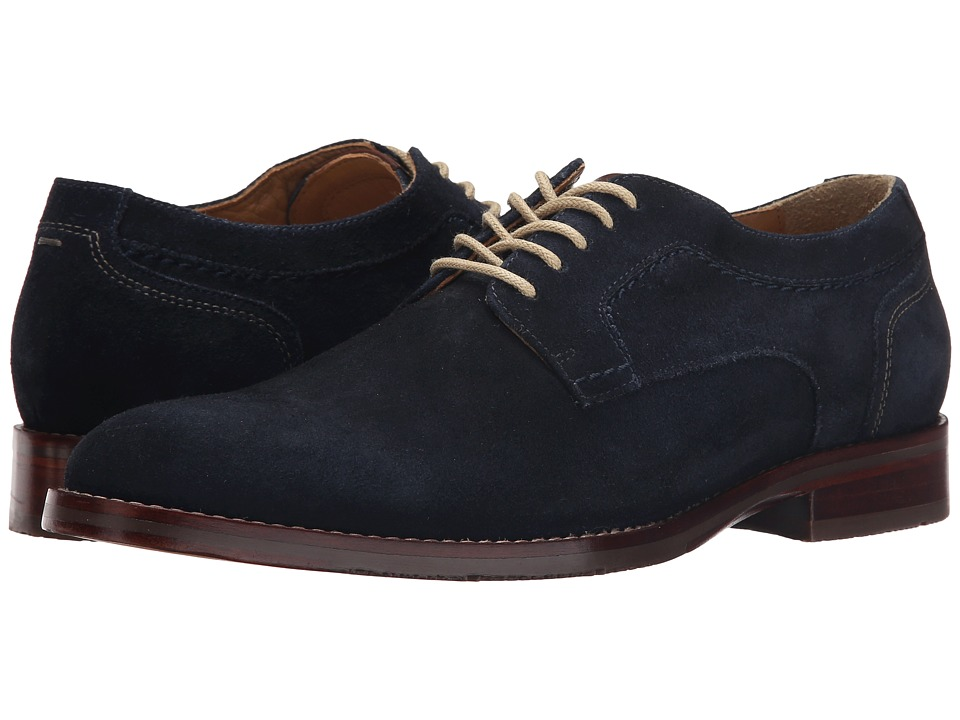 Johnston & Murphy - Garner Plain Toe (Navy Water-Resistant Suede) Men's Lace up casual Shoes