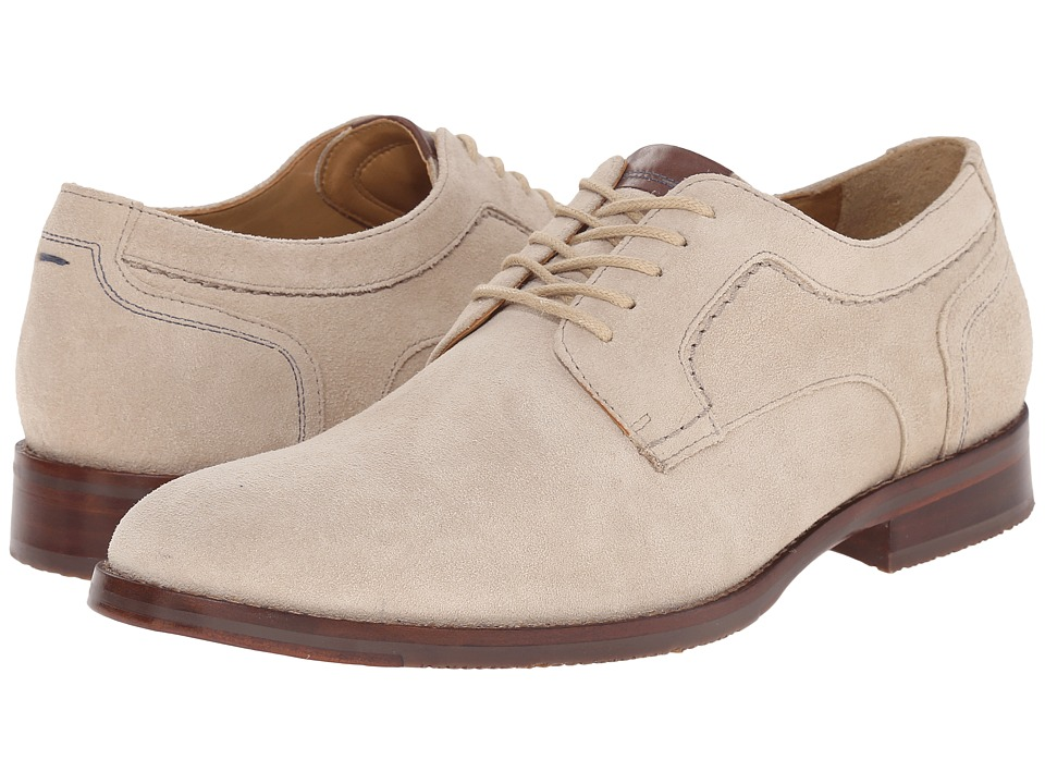 Johnston & Murphy Garner Plain Toe (Ivory Water-Resistant Suede) Men