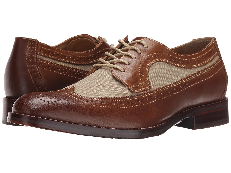 Johnston & Murphy - Garner Wingtip (Tan Calfskin/Dark Natural Linen) Men's Lace Up Wing Tip Shoes