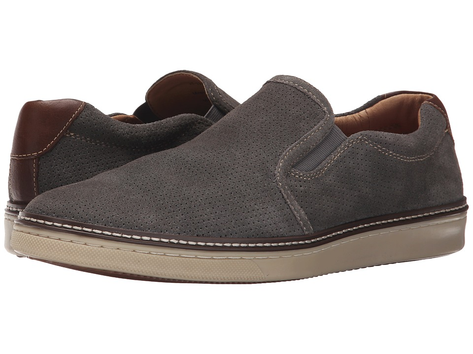 Johnston & Murphy - McGuffey Perfed Slip-On (Gray Water-Resistant Suede) Men's Slip on Shoes
