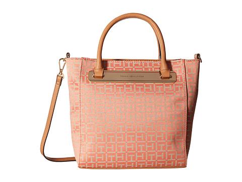 Tommy Hilfiger - Harper Small Convertible Tote (Papaya/Multi) Tote Handbags