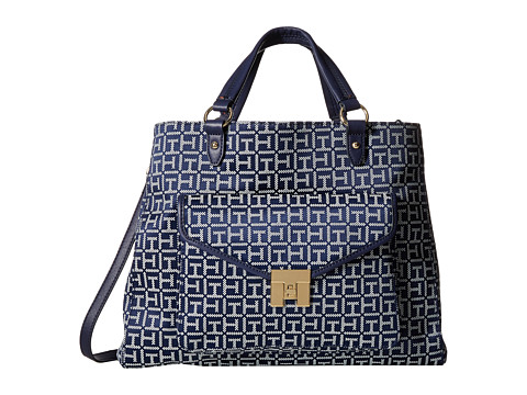 Tommy Hilfiger - TH Turnlock Convertible Shopper (Navy/White) Tote Handbags