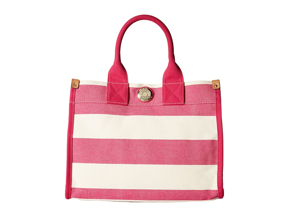 Tommy Hilfiger - Tommy Shopper Medium Tote (Raspberry/Natural) Tote Handbags