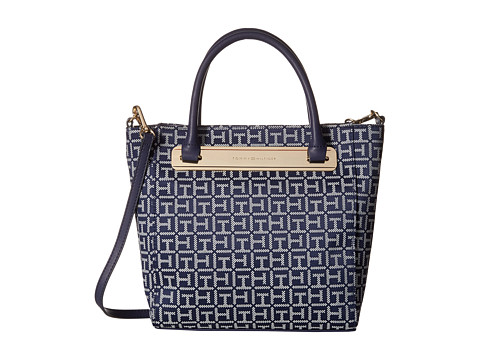 Tommy Hilfiger - Harper Small Convertible Tote (Navy/White) Tote Handbags