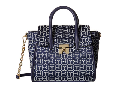 Tommy Hilfiger - TH Turnlock Mini Shopper (Navy/White) Tote Handbags