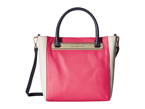 Tommy Hilfiger - Harper Small Convertible Tote (Raspberry/Natural) Tote Handbags