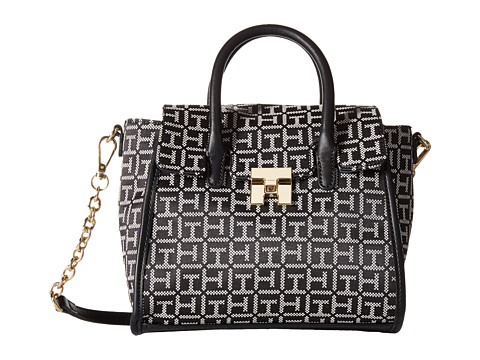 Tommy Hilfiger - TH Turnlock Mini Shopper (Black/White) Tote Handbags