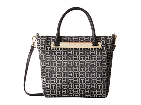 Tommy Hilfiger - Harper Small Convertible Tote (Black/White) Tote Handbags