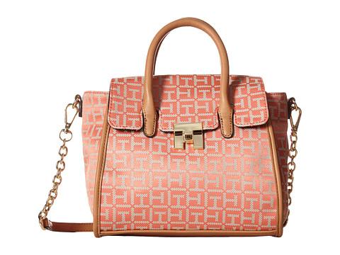 Tommy Hilfiger - TH Turnlock Mini Shopper (Papaya/Multi) Tote Handbags