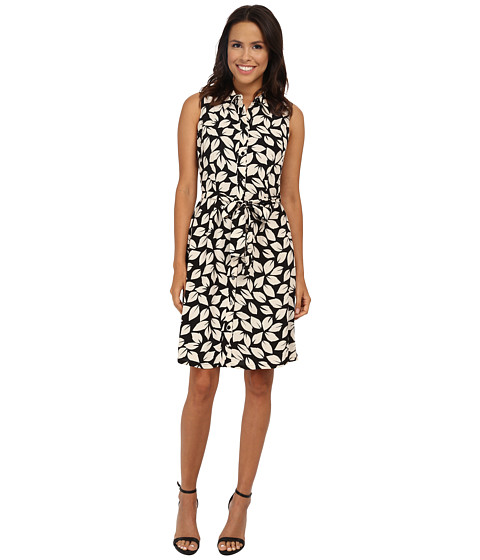 Adrianna Papell - Tie Waist Leaf Print Shirtdress (Black/Ecru) Women's Dress