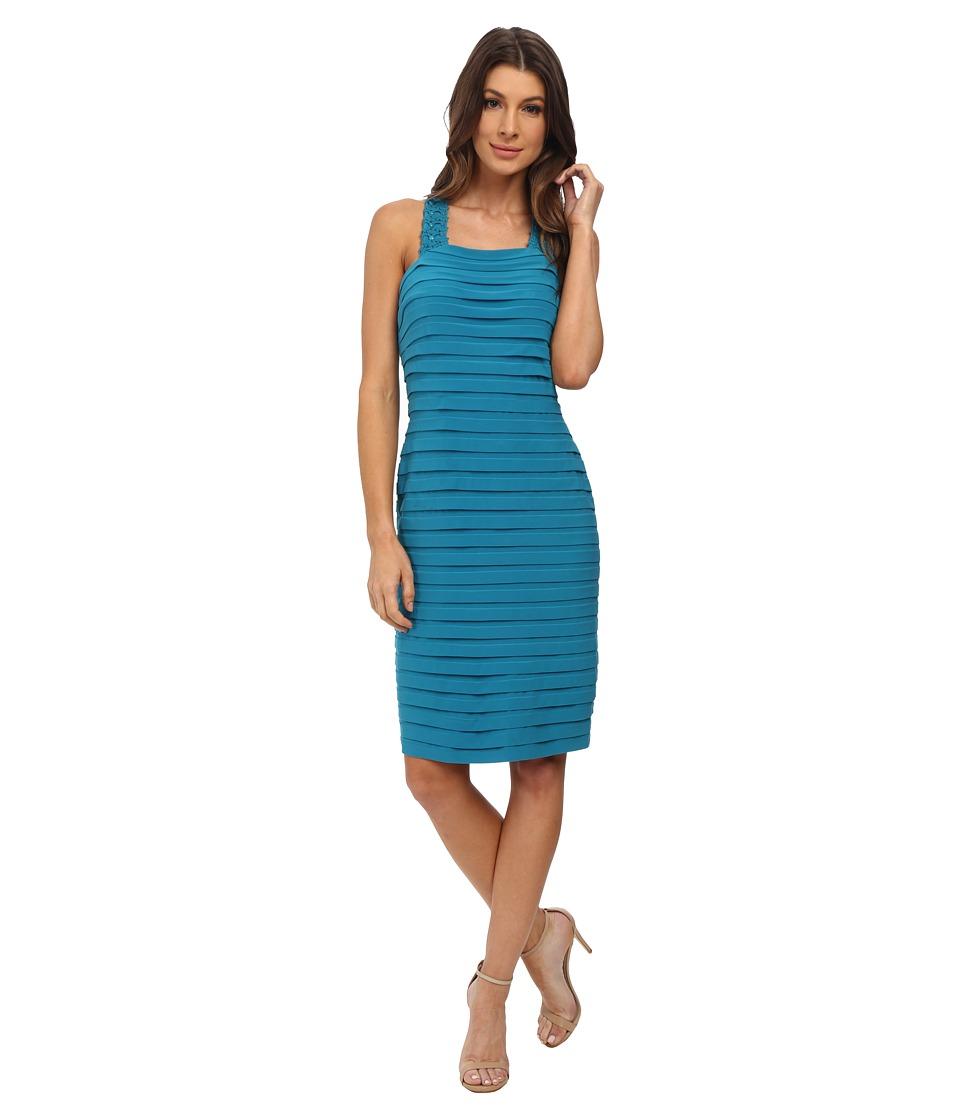Adrianna Papell - Bond Jersey Dress with Cross Back Detail (Teal Crush) Women's Dress