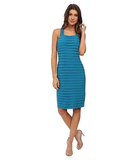 Adrianna Papell - Bond Jersey Dress with Cross Back Detail (Teal Crush) Women