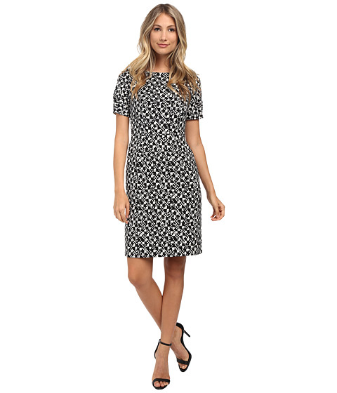 Adrianna Papell - Graphic Texture Printed Crepe Dress (Black/Ivory) Women's Dress