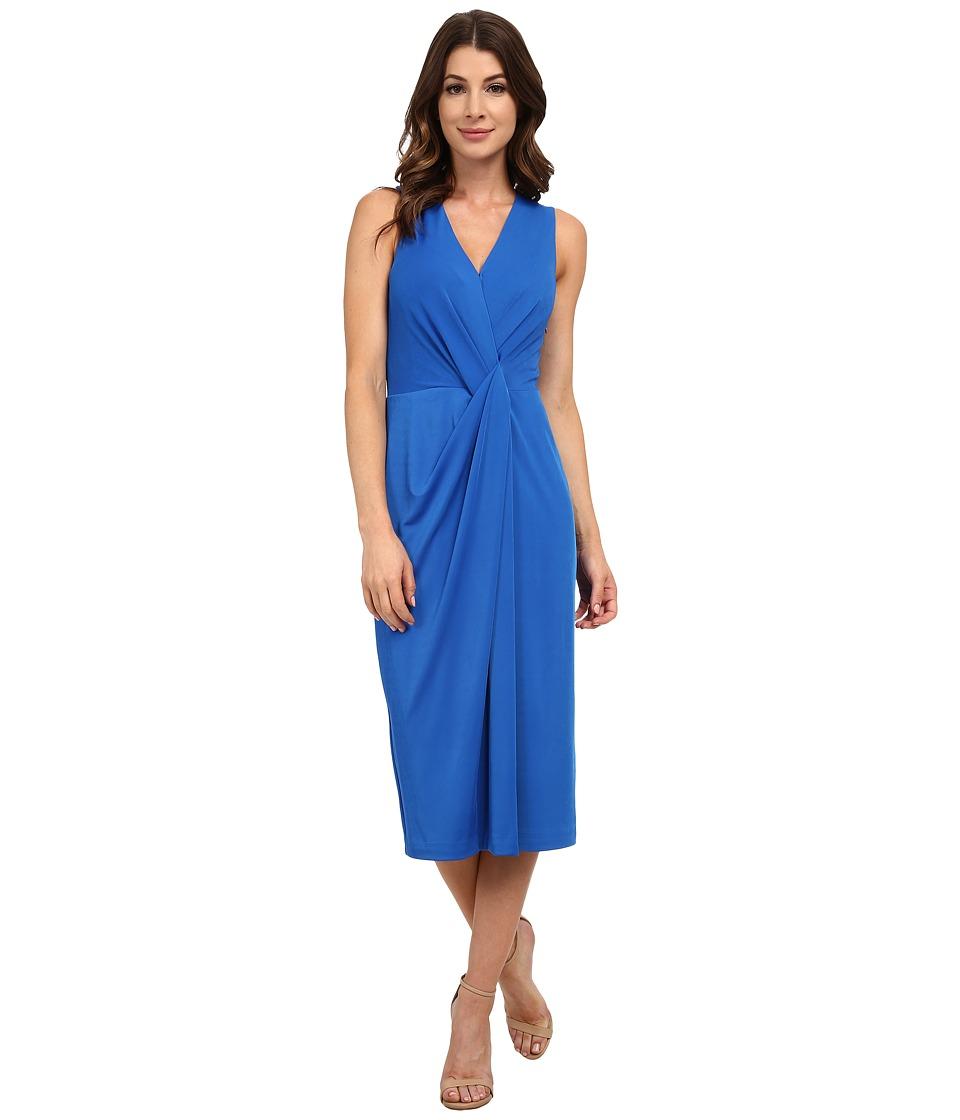 Anne Klein - Muir Jersey Sleeveless V-Neck Draped Dress (Azure) Women's Dress