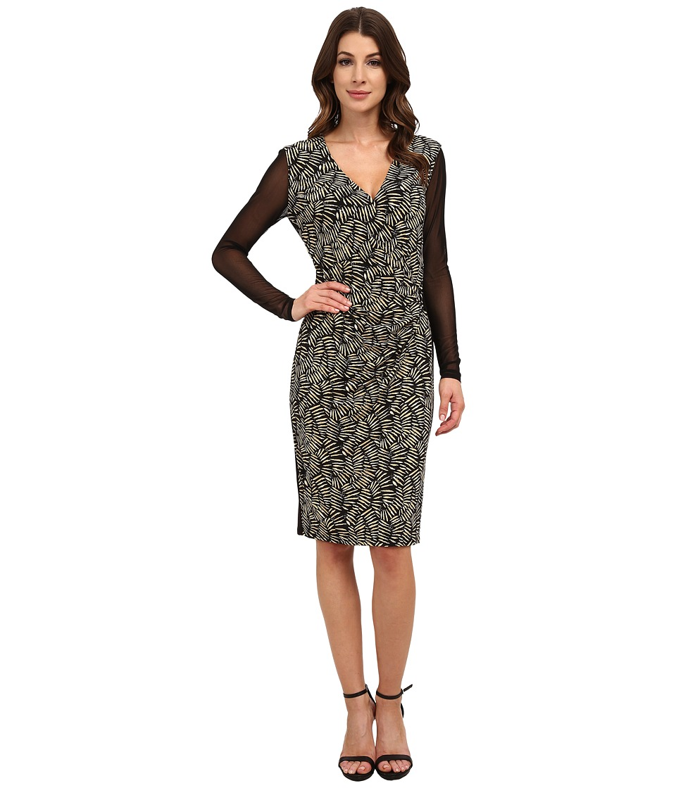 Anne Klein - Printed Jersey V-Neck Side Drape with Hardware (Black Combo) Women's Dress