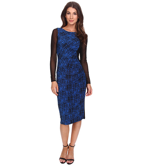Anne Klein - Printed Jersey Long Sleeve Rouched Dress (Black/Azure) Women