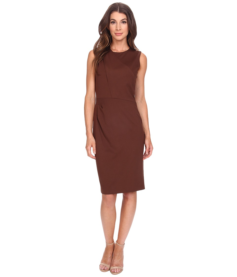 Anne Klein - Milano Stretch Asymmetrical Side Drape Dress with Lame (Bronze/Gold) Women's Dress