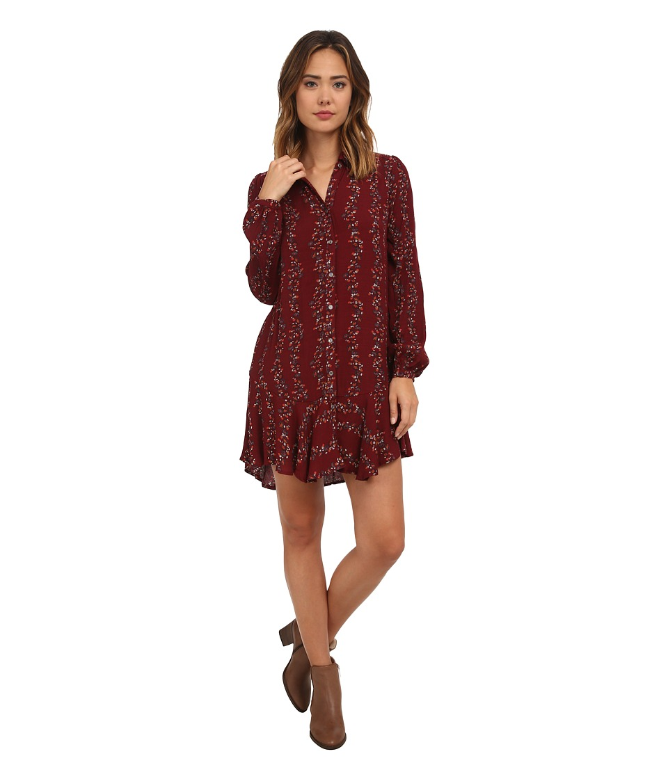 Free People - Button Down Shirt Dress (Cranberry Combo) Women's Dress